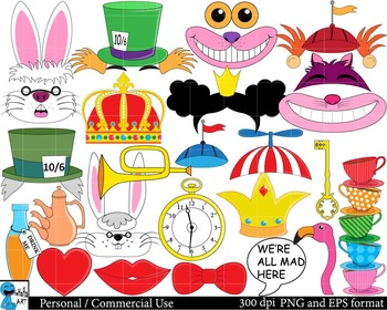 Mad Hatters Tea Party booth Props Digital Clip Art 110 images cod100