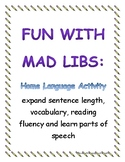 Mad Lib Supplement for Home Language Activity (Spring/Holiday)