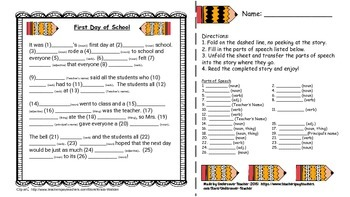 Mad-Lib Style: 1st Day of School - Parts of Speech