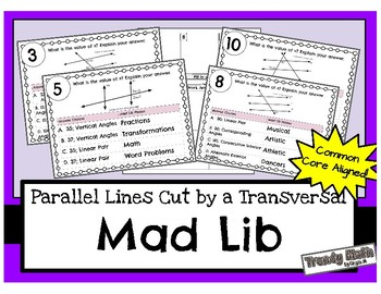 Parallel Lines Cut by a Transversal Mad Lib