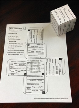 Mad Lib Writing Prompt Cubes