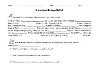 Mad Lib for Get to Know You