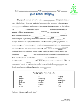 Bullying Mad Lib using Parts of Speech