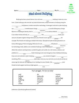 Bullying Mad Lib using Parts of Speech