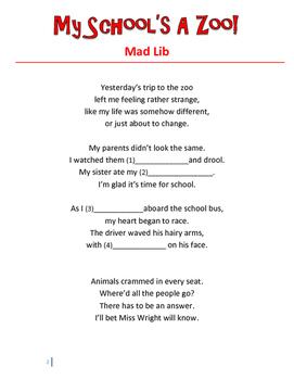Mad Libs Activities *My School's A Zoo*