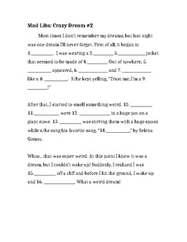Mad Libs Crazy Dream 2