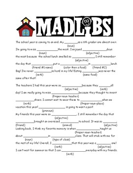 Eloquent image within mad libs for middle schoolers printable