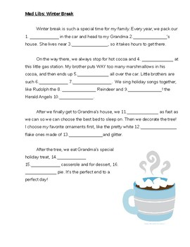 Mad Libs: Winter Break