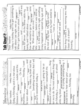 Mad Libs for Kids Morning Message