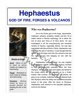 Ancient Greece & Hephaestus - Passage, Mad Libs, and Vocabulary