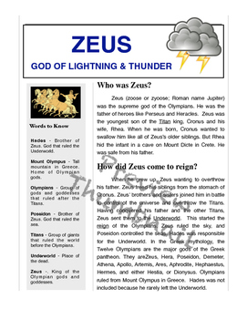 Ancient Greece & Zeus - Passage, Mad Libs, and Vocabulary