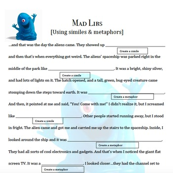 Mad Libs using Figurative Language