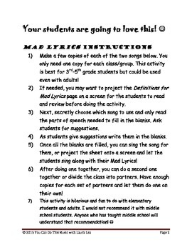 Mad Lyrics All Year!: Super-Silly Parts of Speech Review