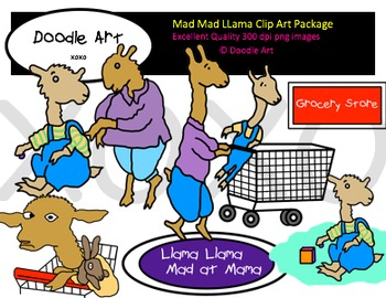 Mad Mad Llama Clipart Pack