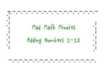 Mad Math Minute Addition Packet