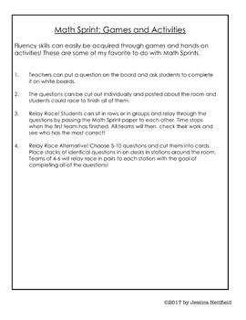 Quadratic Functions Activity: Math Sprints