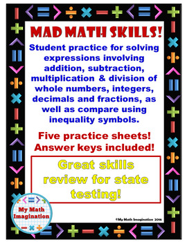 Mad Math Skills - Add, Subtract, Multiply, Divide, Fractions, Decimals, Integers