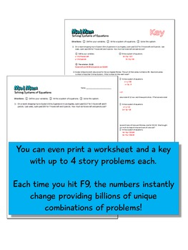 Mad Math - Systems of Two Linear Equations Story Problem Generator (Common Core)