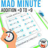 Mad Minute Addition, Addition 0-10, Math Facts within 10