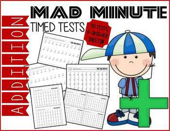 Mad Minute Addition Timed Tests