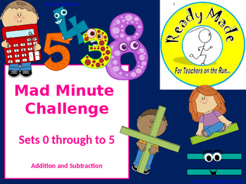 Mad Minute Challenge + and - 0 to 5