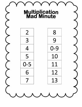 Mad Minute Data Notebook