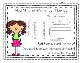 Mad Minute Math Fluency Facts Test and Goal Graph