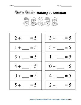 Mad Minute- Minions: Making 5 and Making 10 Addition