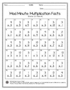 Mad Minute Multiplication Facts 0-12 Pack