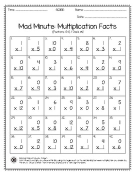 mad minute multiplication facts 0 12 pack tpt