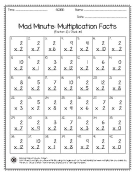 Mad Minute Multiplication Facts 0-12 Pack   TpT