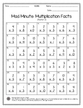 Mad Minute Multiplication Facts Worksheet 0-10 Pack (#1)