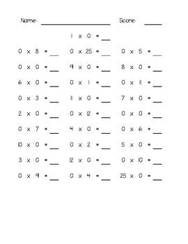 Mad Minute Multiplication Tests
