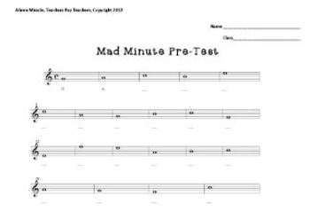 Treble Clef Mad Minute Pre And Post Test By Aileen Miracle