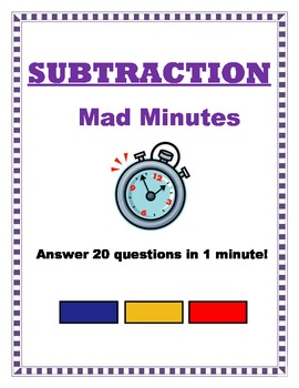 Mad Minute Subtraction - Answer 20 questions in 1 minute!