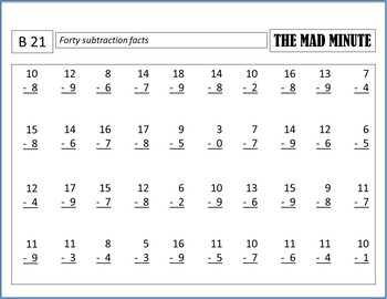 Mad Minute Subtraction Timed Tests & Answer Sheets