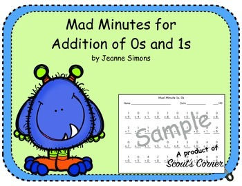 Mad Minutes Addition 0s and 1s - Demo
