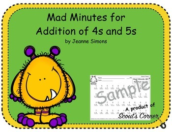 Mad Minutes Addition 4s and 5s