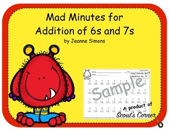 Mad Minutes Addition 6s and 7s