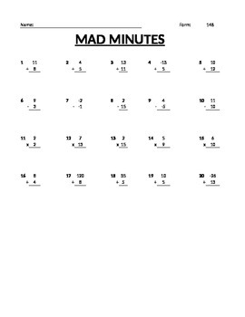 Mad Minutes - Arithmetic!