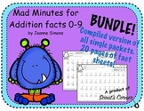 Mad Minutes BUNDLE: Addition Facts 0-9