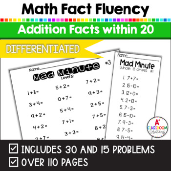 Mad Minutes Math Fact Fluency:  Addition (Sums 5 to 20)