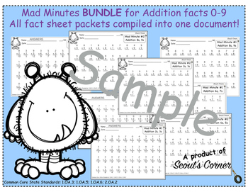 Mad Minutes MIXED Addition Facts 0-9