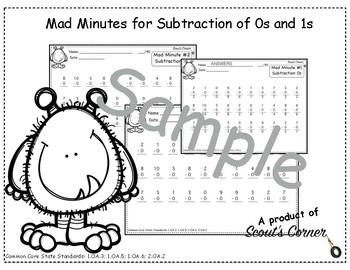 Mad Minutes Subtraction 0s and 1s