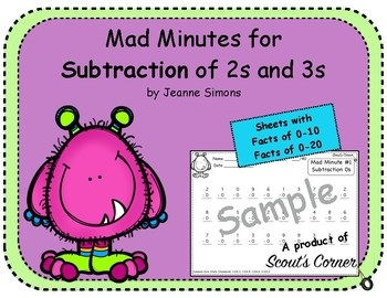 Mad Minutes Subtraction 2s and 3s