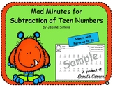 Mad Minutes Subtraction Teen Numbers 10-20