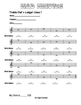 Mad Minutes: Treble Clef Ledger Lines Small Pack