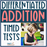 Addition Timed Test! Adding Within 20 Differentiated!