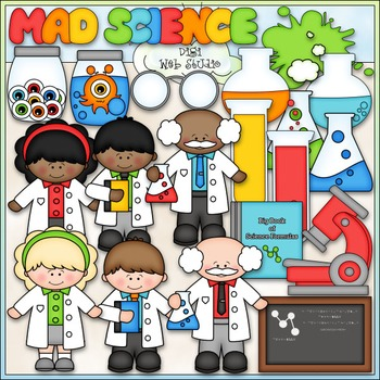 Mad Science Clip Art - Scientist Clip Art - CU Clip Art & B&W