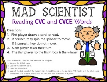 Mad Scientist ~ CVC and CVCE Words